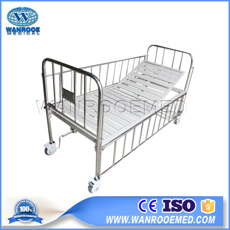 Stainless Steel Paediatric Bed, Hospital Children Bed, Single Crank Paediatric Bed, Hospital Pediatric Bed, One Function Paediatric Bed