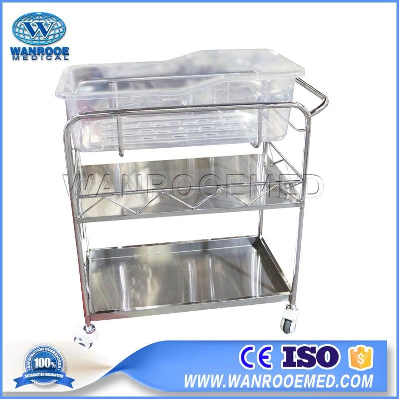 Hospital Infant Bed, Hospital Children Bassinet, Medical Baby Cart, Hospital Baby Cot, Stainless Steel Baby Cart