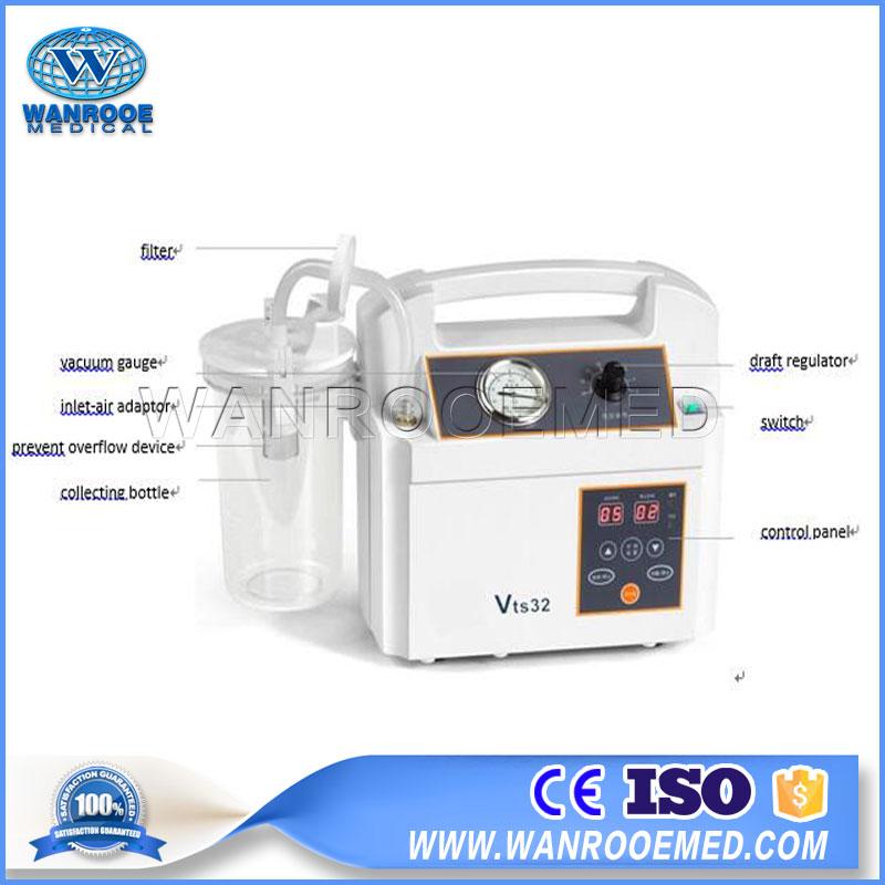 Vts32 Hospital Equipment Wound Continuous Drainage Portable Phlegm Suction Unit Suction Machine
