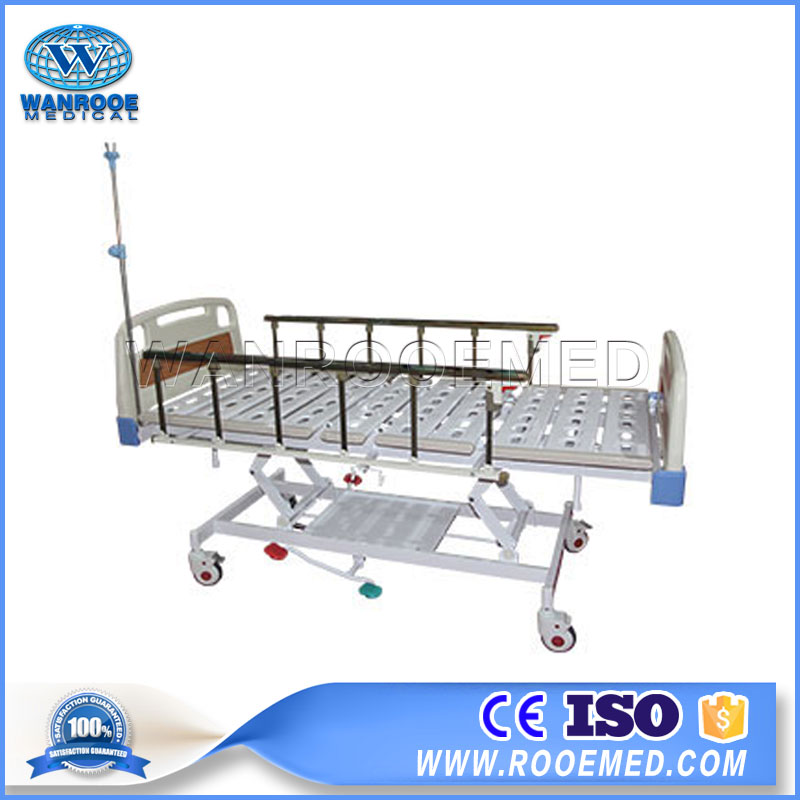 BAH300 Medical Adjustable Three Function Manual Hydraulic Hospital Bed For Patient