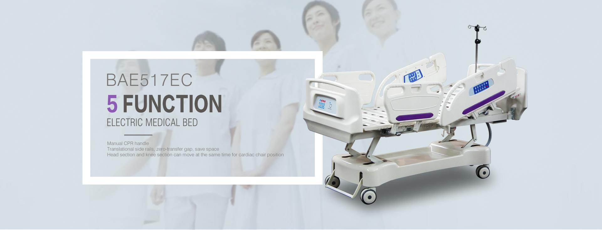 Medical Furniture Electric 5 Function Linkan Motor Hospital Trolley Bed