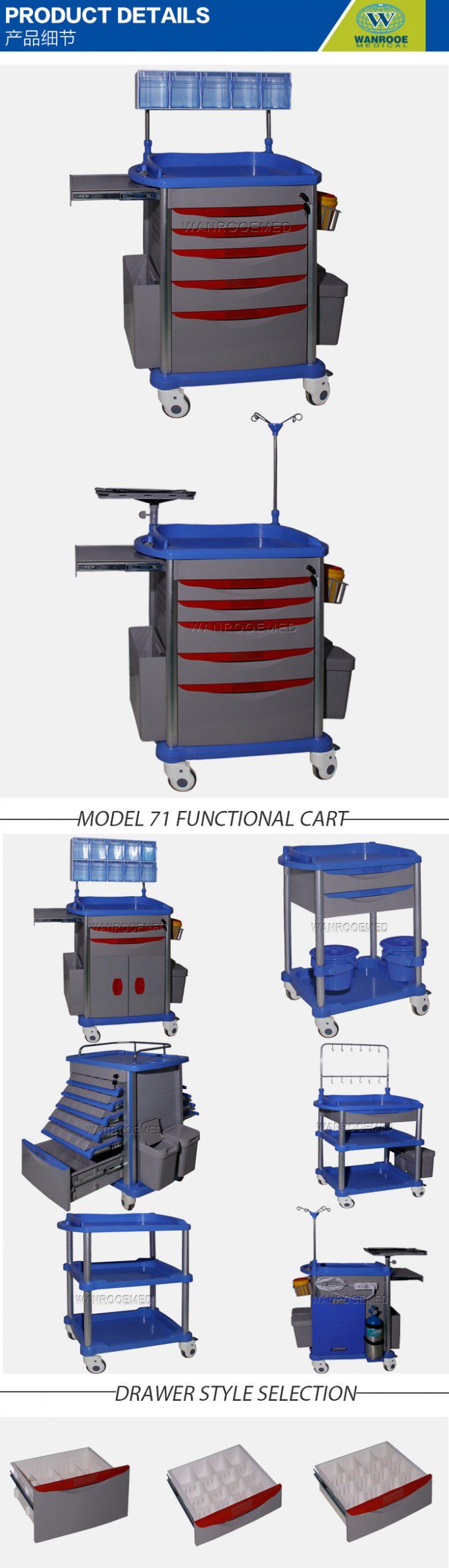 Medical Trolley Cart,ABS Cart,Hospital Trolley Cart,Crash Cart,Emergency Trolley