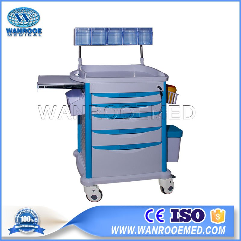medicine trolley with drawers, mobile medicine trolley, hospital medicine trolley, emergency medicine trolley, medicine trolley