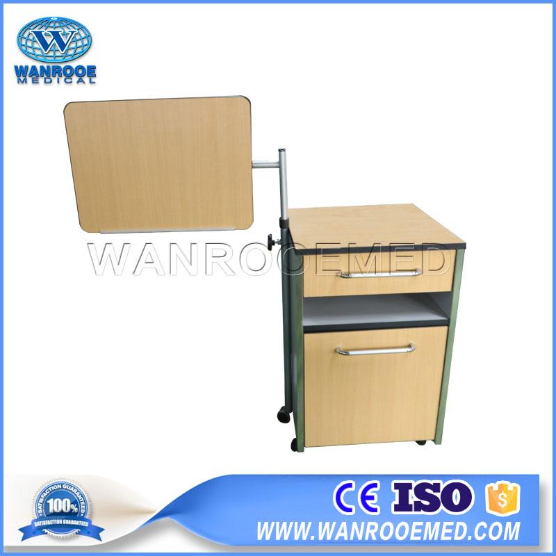 BC010E Hospital Furniture Wooden Bedside Cabinet Bedside Locker With Height Adjustable Table