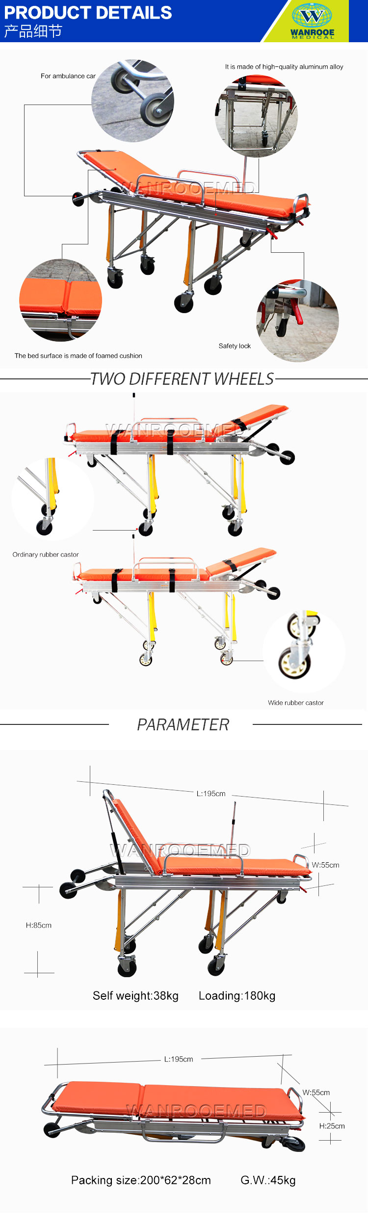 Emergency Ambulance Cot, Medical Ambulance Stretcher, Foldable Transport Stretcher, Stainless Steel Ambulance Trolley, Transport Patient Stretcher, Multi-position Ambulance Cot