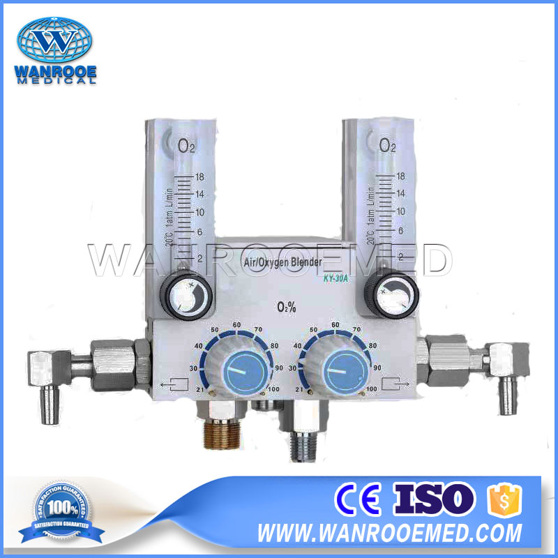 Air Oxygen Blender, Neonate Air Oxygen Blender, Double Flowmeter Air Oxygen Blender, Double Output Air Oxygen Blender