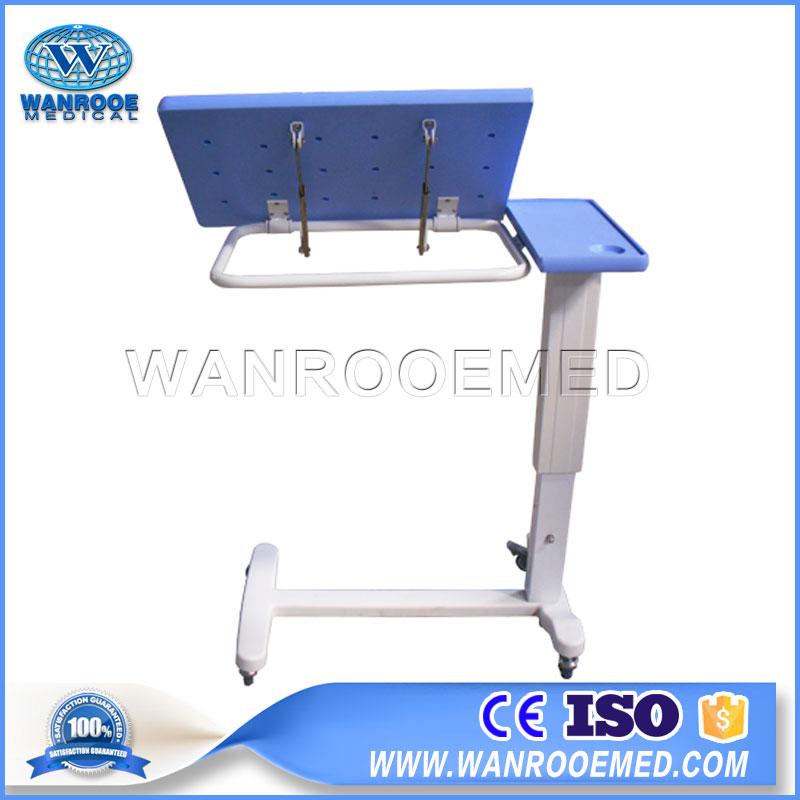 BDT001G Hospital Adjustable Over Bed Table Bedside Table With Wheels