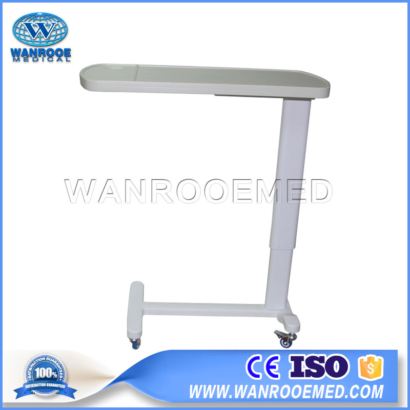 BDT002A Adjustable Hospital Medical Overbed Table Movable ABS Bedside Table