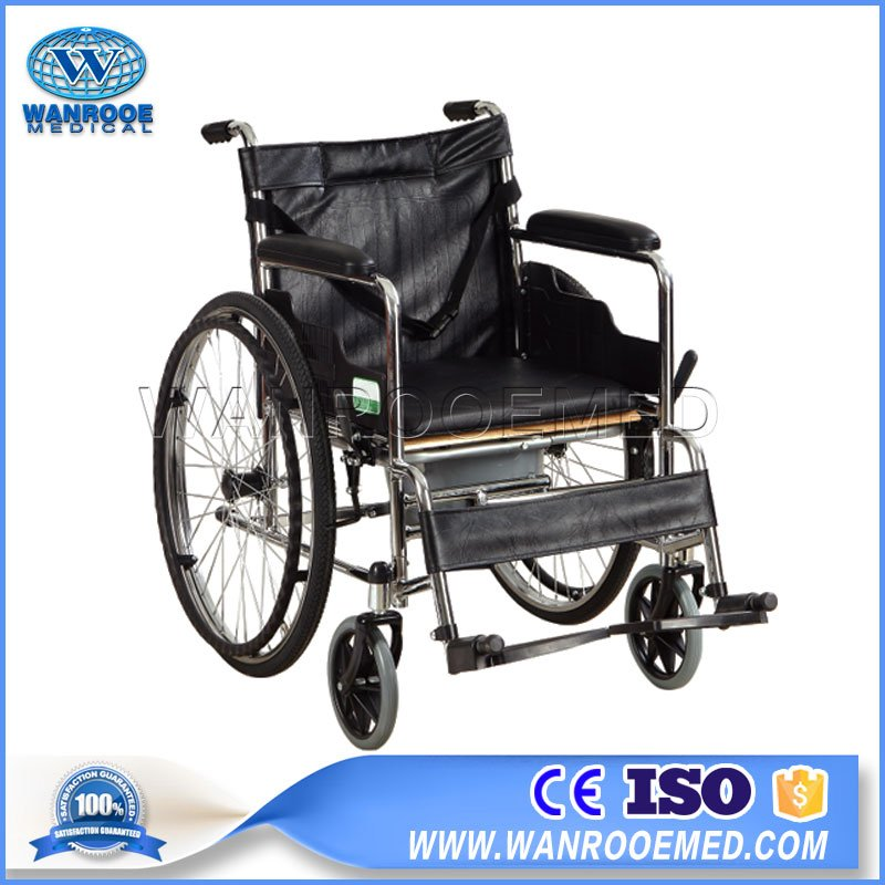 Manual Used Wheelchair, Folding Portable Wheelchair, Commode Board Wheelchair