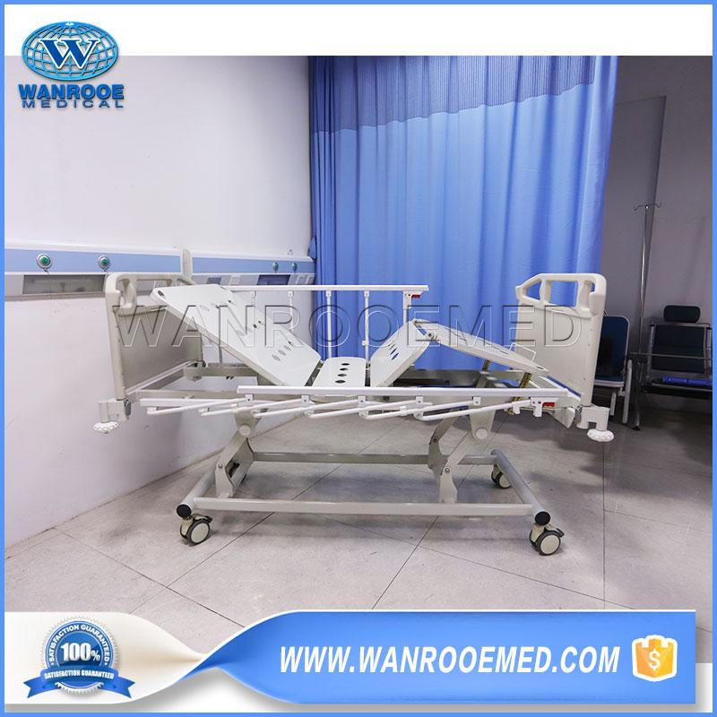 manual patient bed, manual hospital bed, 3 cranks hospital bed, hospital patient bed, nursing bed