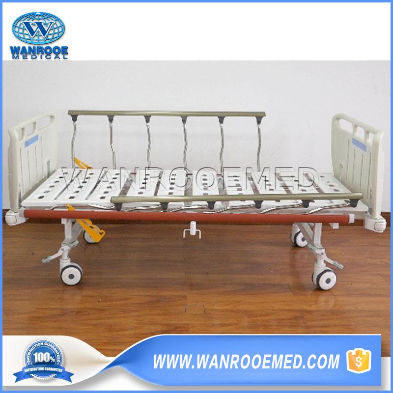 2 Crank Manual Hospital Bed, Manual Hospital Patient Bed, ABS Manual Hospital, Medical Manual Bed, Adjustable Manual Bed