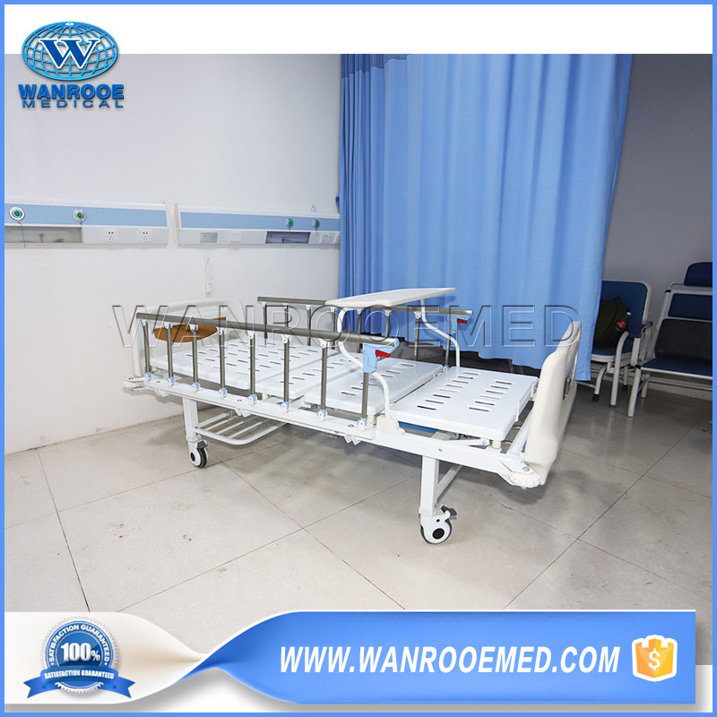 2 Function Patient Bed, Manual Patient Bed, Adjustable Manual Bed, Double Crank Hospital Bed