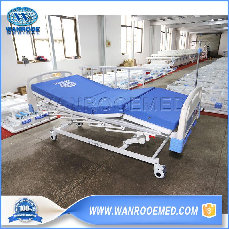 Manual Patient Bed, 3 Crank Medical Bed, Manual Hospital Bed, Medical Patient Bed, Three Function Medical Bed