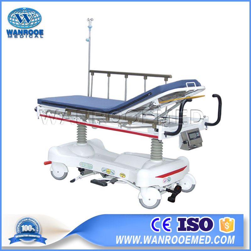 Hydraulic Transfer Cart, Medical Patient Cart, Hospital Transfer Stretcher, Adjustable Emergency Cot