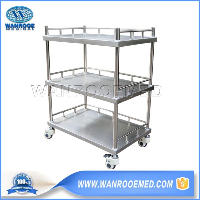 Stainless Steel Trolley, Three Layer Trolley, Medical Trolley, Hospital Trolley