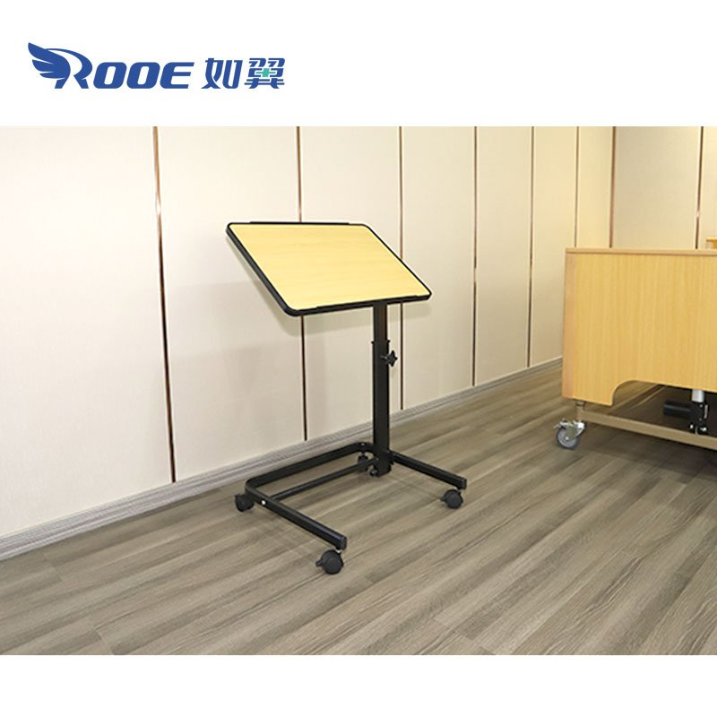 overbed table, overbed table with wheels, adjustable overbed table with wheels, overbed bedside table, overbed medical table, folding overbed table