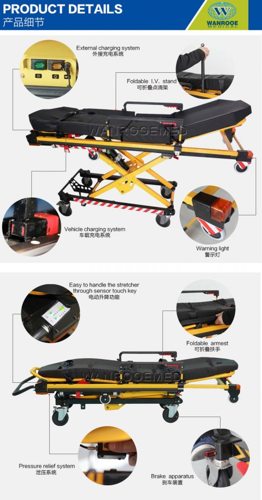 Electric Ambulance Stretcher, Medical Adjustable Trolley, Folding Ambulance Stretcher, Hospital Foldable Stretcher, Patient Ambulance Cot